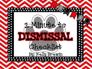 EDITABLE~{1 MINUTE} Dismissal Checklist [BW Paw Prints]