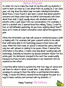 Parent Information Letter {to the teacher} **EDITABLE**