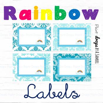 EDITABLE Blue Rainbow Name Labels / Supplies Labels / Library Labels {Decor}