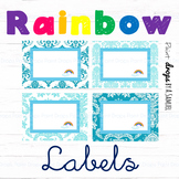 EDITABLE Blue Rainbow Name Labels / Supplies Labels / Libr