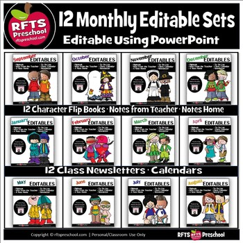 12 MONTHLY EDITABLE SETS (BUNDLE) Edit In PowerPoint