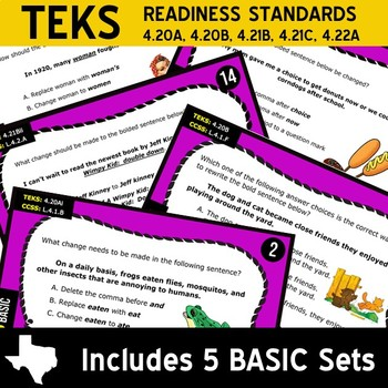 EDITING BUNDLE ~ WRITING READY 4th Grade Task Cards – 10 Basic & Advanced Sets
