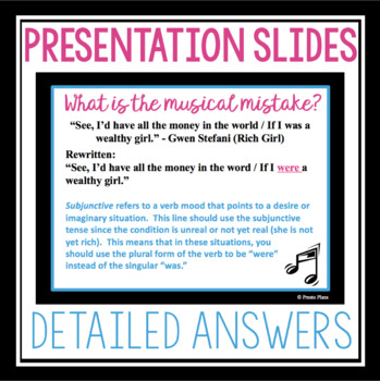 GRAMMAR ACTIVITY: EDITING MUSIC LYRICS