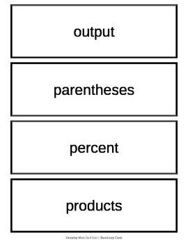 EDM 4th Grade Vocabulary Units 2 - 9 Word Wall