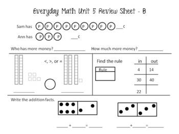 EDM First Grade Unit 5 Review Sheets