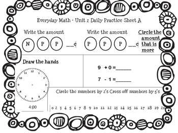 EDM first grade Unit 2 Review Sheets