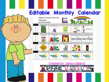 EDTABLE: Monthly Calendar