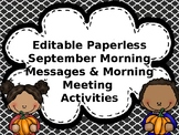 EDITABLE PAPERLESS September Community Building Morning Messages