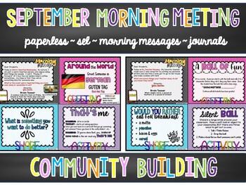 EDITABLE PAPERLESS September Community Building Morning Meetings