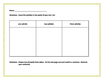 EE/EY Sort with Extension Activity