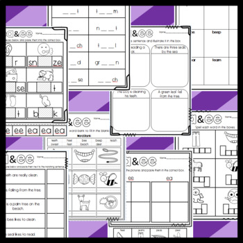 EE and EA Double Vowel Sheets: Cut and Paste Sorts, Cloze, Writing, etc.