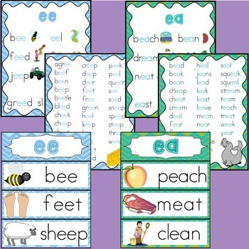 EE and EA Vowel Digraphs Activities and Posters