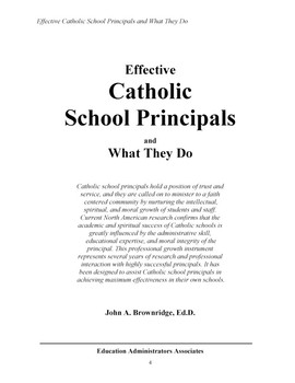 EFFECTIVE CATHOLIC SCHOOL PRINCIPALS and What They Do