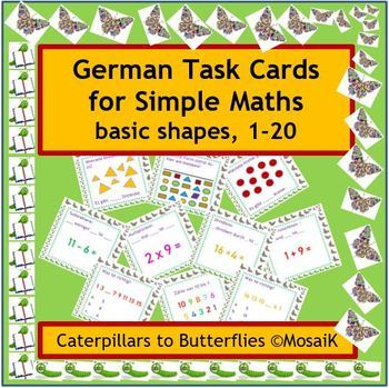 German: 54 task cards - basic numeracy, maths