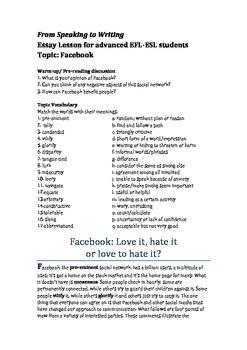 EFL-ESL Essay Lesson: Facebook