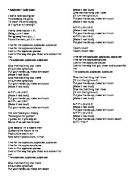EFL Listening exercise (Lady Gaga - Applause)