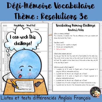 Vocabulary Word List Resolutions