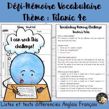 Vocabulary Word List Titanic