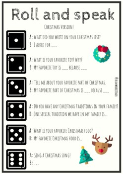 EFL Christmas Speaking and Writing FREEBIE