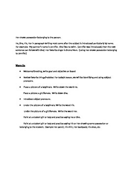 EFL Subject Pronoun Lesson Plan