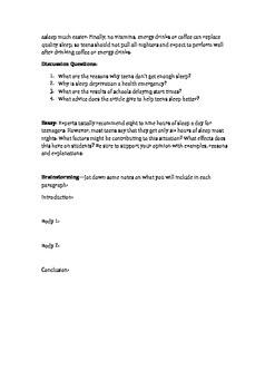 EFL/ESL Essay Lesson: Teens and Sleep