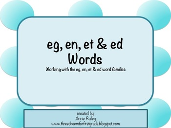 EG, EN, ED, & ET Word Study Sort and Activities