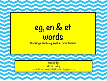 EG, ET & EN Word Study Sort and Activities