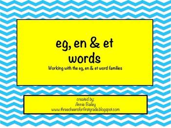 EG, ET & EN Word Study Sort and Activities