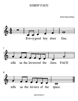 EGBDF FACE - Treble Clef Notation Song Sheet Music