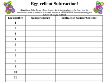 EGG-cellent Subtraction! {FREEBIE}
