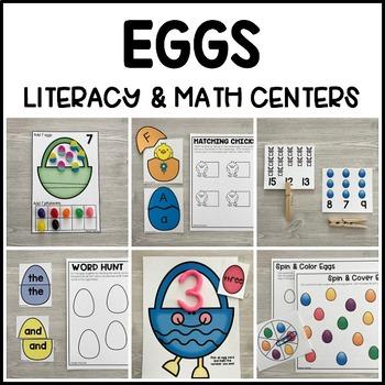 EGGS Literacy & Math Centers for Easter & Spring (Preschool, PreK, Kindergarten)