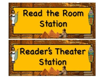 EGYPTIAN Themed Station/Center Signs - Great Classroom Management!  FABULOUS!