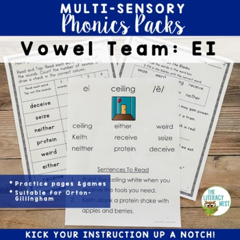 EI Vowel Digraph Phonics Pack and Word Work Multisensory O