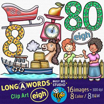 EIGH Words ClipArt | Long Vowel Teams -A- Clip Art Set