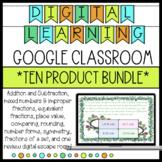 Google Classroom Math GROWING BUNDLE fractions, multiplication, place value