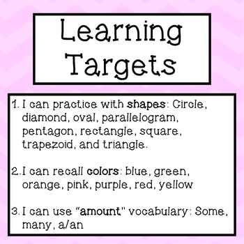 Read the Room, Shapes, ELL Differentiated Activities