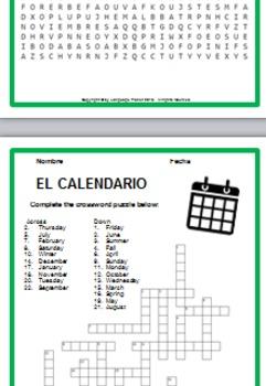 EL CALENDARIO Posters, Graphic Organizers and Vocabulary Practice Activities
