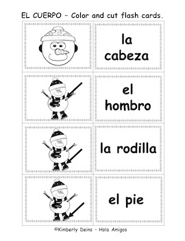 EL CUERPO- WINTER EDITION Spanish song, flash cards,posters& worksheets