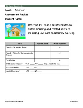 EL Civics Objective 4.4 Obtaining Housing Student Assessment Packet Adv.