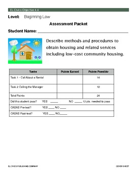 EL Civics Objective 4.4 Obtaining Housing Student Assessment Packet Beg. Low
