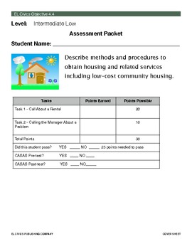 EL Civics Objective 4.4 Obtaining Housing Student Assessment Packet Int. Lo.