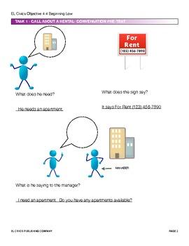 EL Civics Objective 4.4 Obtaining Housing Teacher Packet Beg. Low