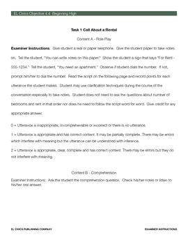 EL Civics Objective 4.4 Student Assessment Packet Beg. Hi.