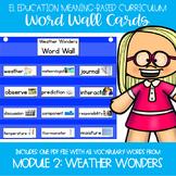EL Education Kinder Module 2 Meaning Based: Weather Wonders Word Wall Cards