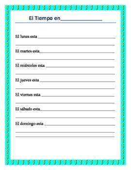 El Tiempo- Weather in Spanish- Vocabulary list and interactive package