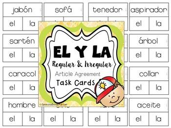 EL y LA Article Agreement Task Cards: Regular and Irregular