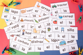 EL y LA Article Agreement Task Cards with Pictures: Regular and Irregular