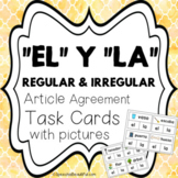 EL y LA Article Agreement Task Cards with Pictures: Regula