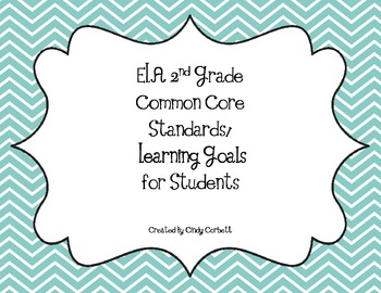 ELA 2nd Grade Common Core Standards/Learning Goals for Students