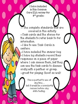 ELA 3rd Grade Common Core Informational Text Task Cards Review: State Testing